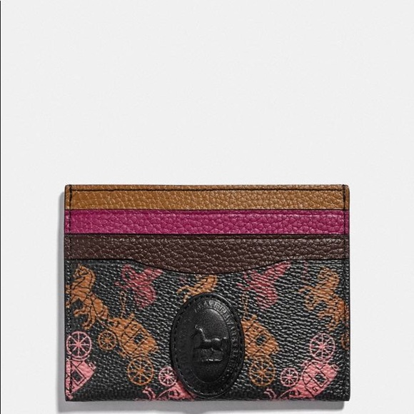 COACH Card Case W/Horse & Carriage Print